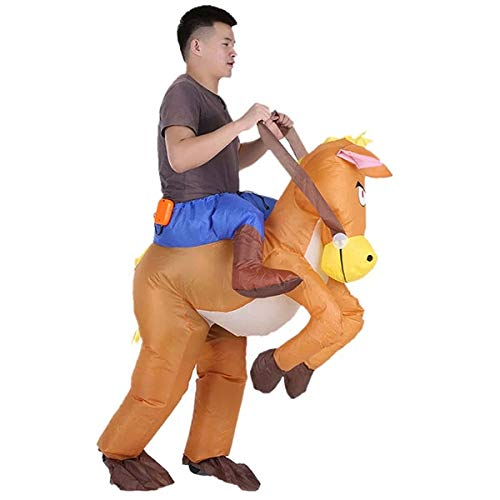 EbuyChX Halloween Carnival Party Cowboy Rider on Horse Inflatable Costume Outf TAN ()