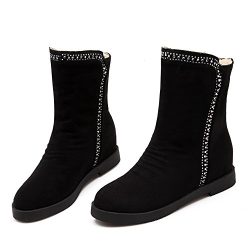 Closed Black Pull Boots Heels Suede Toe Allhqfashion Solid Kitten Women's on Imitated Round FqF76gz