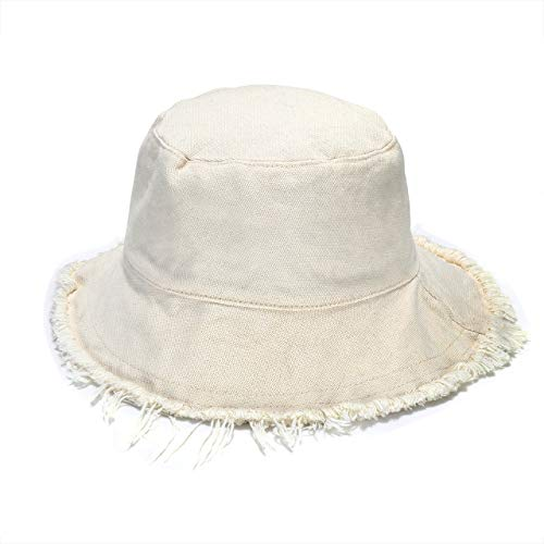 boderier Sun Hats for Women Summer Casual Wide Brim Cotton Bucket Hat Beach Vacation Travel Accessories (Beige)