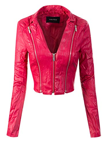 Cropped Double Zip Jacket - Instar Mode Women's Stylish Trendy Bomber Faux Leather Motorcycle Cropped Rider Jacket Fuchsia L