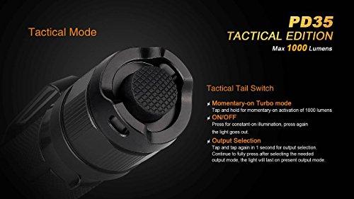 Ultimate Bundle: Fenix PD35TAC (PD35 Tactical) 1000 Lumens Cree XP-L Flashlight, 2x Fenix 3500mAh 18650 Batteries, Smart Charger, LumenTac Battery Organizer by Fenix (Image #5)