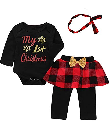 Mutiggee My First Christmas Outfit Baby Girls Xmas Plaid Pant Clothing Sets (Red&Black, 6-12 Months) -