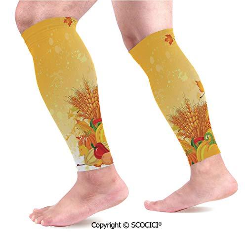 Flexible Breathable Comfortable Leg Skin Protector Sleeve Vivid Festive Collection of Vegetables Plump Pumpkins Wheat Fall Leaves Decorative Calf Compression Sleeve