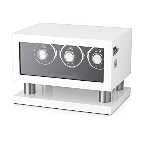 - Watch Winder Box for 3 Watches with LED Backlight, LCD Display and Motor-Stop Option (White & Black)