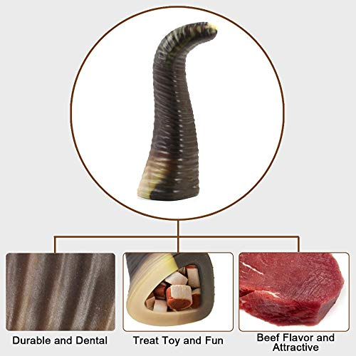 COPACHI Dog Chew Toys for Aggressive Chewers, Durable Dog Teething Chew Toys, Non-Toxic, Nearly Indestructible, Goat Horn Shape, for Large/Medium Breed Dogs, Beef Flavor