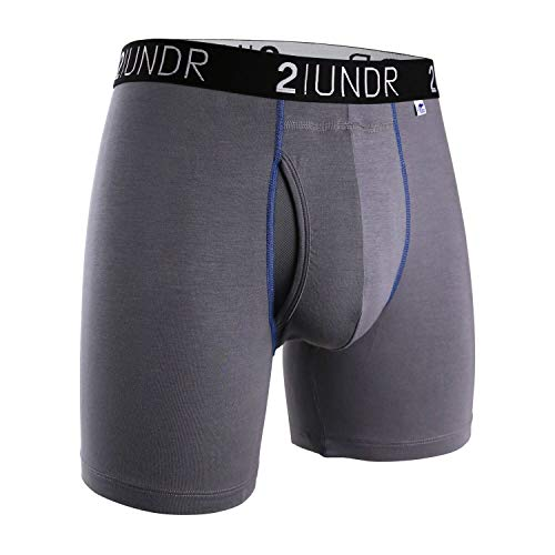 2undr Men's Swingshift Boxers, Grey/Blue, Large ()
