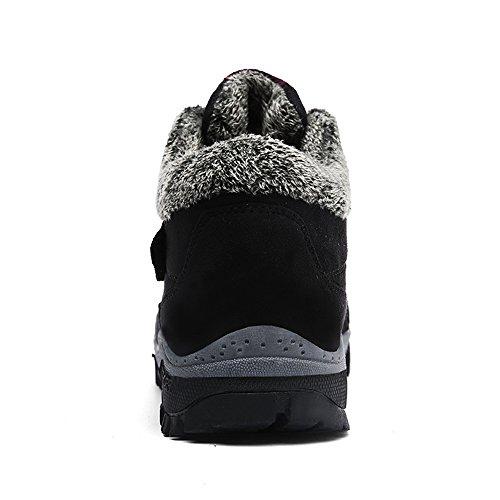 Damen Winter Herren Klettverschluss Gr Schuhe mit 45 Boots Winterschuhe Trekking Outdoor Stiefel ZOEASHLEY Warm Gefüttert Schwarz 36 B41qw1dY