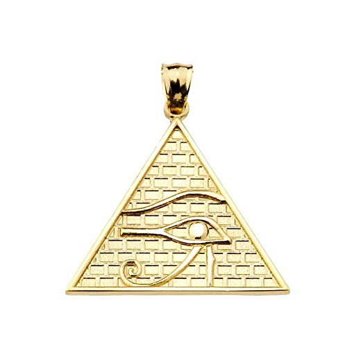Egyptian Ankh Crosses Fine 14k Yellow Gold Eye of Horus Pyramid Charm Pendant
