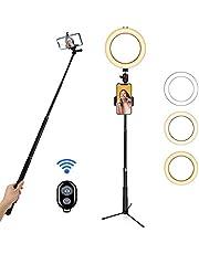 """BLOOMWIN Luce ad Anello LED, 8"""" Ring Light Dimmerabile con Bastone Selfie Supporto di Cellulare Treppiedi Bluetooth e Telecomando, Luce Anulare per Fotografia/Video/Youtube/Trucco"""