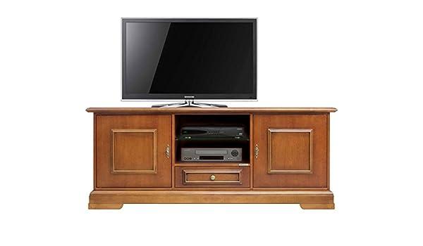 Arteferretto Mueble TV de Estilo Clasico con 2 Puertas y cajón, Mesa para TV en Madera, Mueble de salón Acabado Cerezo: Amazon.es: Hogar