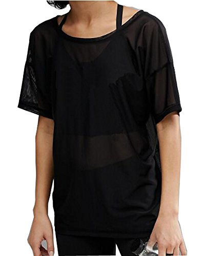 MANGOPOP Women's Clubwear Sheer Long Sleeve Pure Mesh Tops Tee Blouse (Boxy, Black, - Boxy Sheer