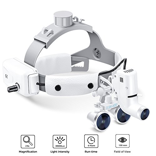 Dental Surgical Binocular Headband Loupes with Headlights, Medical Magnifier with 5W LED Headlamp Lights for Surgery Vascular, Working Distance: R(420 mm), Magnification: 2.5X