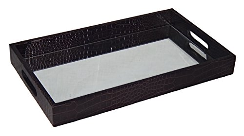 Price comparison product image Cheung's FP-3844BK Faux Snakeskin Vinyl Tray with Beveled Mirror| Black
