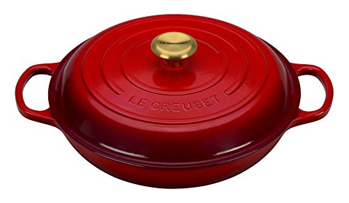 Le Creuset LS2532-3067SG Enameled Cast Iron Signature Braiser, 3.75 quart, Red
