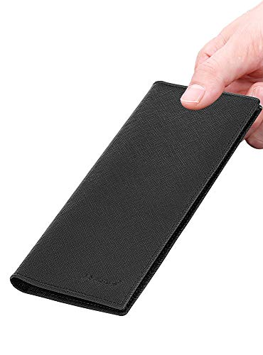 Slim Wallet Leather Long Bifold Wallet Card Holder with RFID Blocking black
