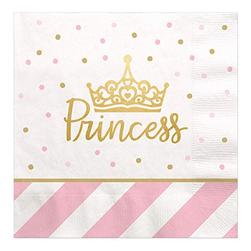 Little Princess Crown with Gold Foil - Pink and Gold Princess Baby Shower or Birthday Party Luncheon Napkins (16 Count)