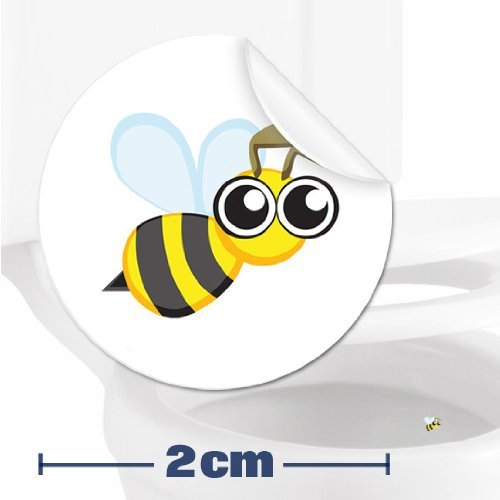 10 x Bee Toilet Target Stickers - 2cm Wide - Cleaner Bathroom/Restroom Floor In A Flash With No Cleaning Products - Helps Improve Aim And Hit The Target - Toilet/Potty/Urinal Training Aid Aiming Reward - Suitable For Children, Toddlers, Boys And Adults To