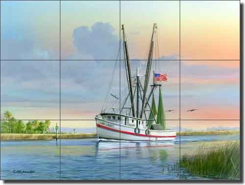 Trawler Nautical Boat Ceramic Tile Mural 24'' x 18'' - Lady Liberty by Mike Brown - Kitchen Shower Backsplash