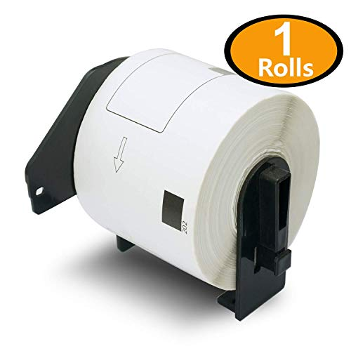 BETCKEY - 1 Rolls Brother-Compatible DK-1202 62mm x 100mm(2-3/7 x 4) 300 Shipping Labels per Roll With Refillable Cartridge