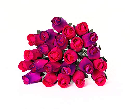 24 Realistic Wooden Roses - Dark Pink & Purple