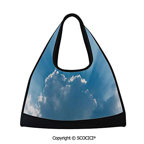 Fitness bag,Sunburst Silver Lining View Fluffy Clouds in the Summer Sky Nature Picture Decorative,Easy to Carry(18.5x6.7x20 in) Blue Gray ()