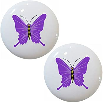Set of 2 Purple Butterfly Ceramic Cabinet Drawer Pull ...