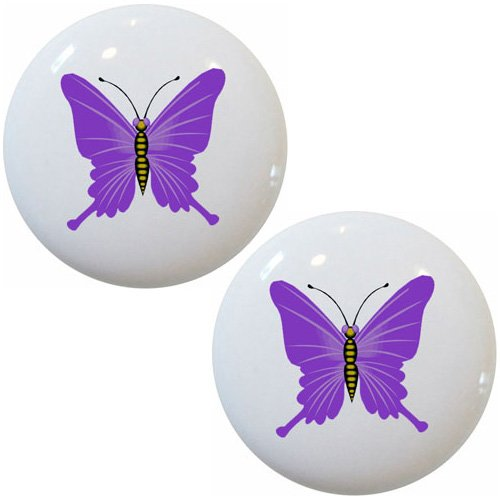Set of 2 Purple Butterfly Ceramic Cabinet Drawer Pull - Dresser Butterfly Knobs