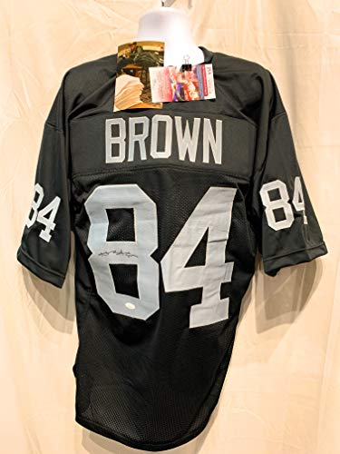 - Antonio Brown Oakland Raiders Signed Autograph Black Custom Jersey JSA Witnessed Certified