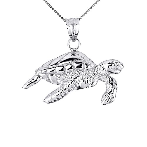 Solid Sterling Silver Sea Turtle Pendant Necklace, 16