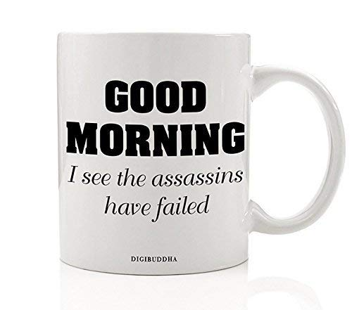 Funny Sarcasm Coffee Mug Gift Good Morning I See The Assassins Have Failed Sarcastic Office Humor Christmas Birthday Present Man Woman Coworker Family Friend 11oz Ceramic Tea Cup Digibuddha DM0311