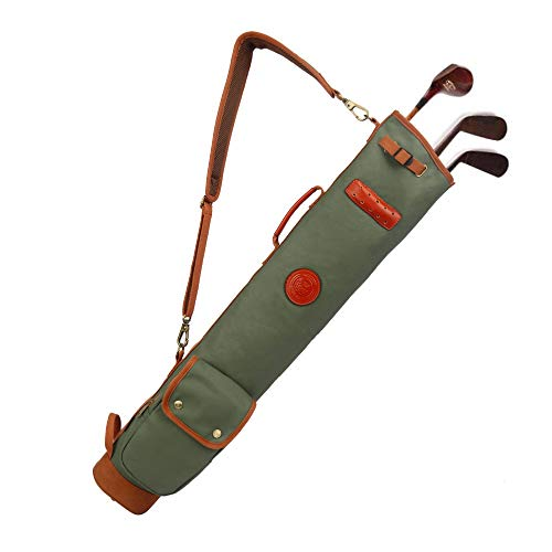 Superdone Outdoor Vintage Golf Bag Clubs Carrier Pencil Style Waxed Canvas & Leather Fleece Padded Club Cover 90CM