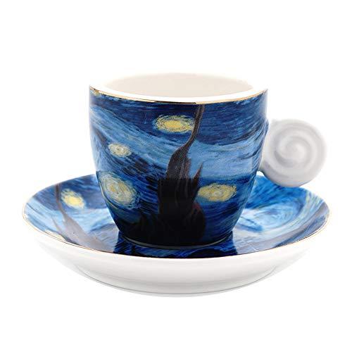 (Coffeezone Vincent Van Gogh Art The Starry Night Porcelain Espresso Coffee Cup Saucer (3 oz))