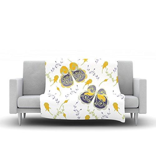 80 by 60 Kess InHouse Anneline Sophia Leafy Butterflies Yellow Purple Butterfly Fleece Throw Blanket