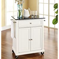 K&A Company White Kitchen Cart Granite Top Island Storage Solid Stool Finish Wood Furniture and Locking Casters Wheels