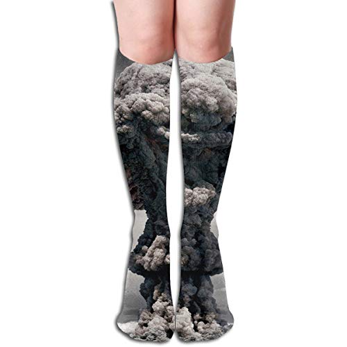 Tube Knee High Socks 50CM Atomic Bomb Cloud Mushroom Men's Over-The-Calf Tube Sports Socks Extra Long Compression Stocking