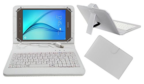 Acm USB Keyboard Case Compatible with Samsung Galaxy Tab A T355y Tablet Cover Stand Study Gaming Direct Plug   Play   White