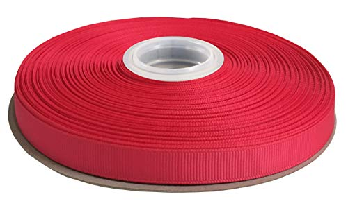 DUOQU 1/4 inch Wide Grosgrain Ribbon 50 Yards Roll Multiple Colors Shocking Pink