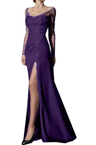 Schlitz Abendkleid Satin Ballkleid Spitze Lang Partykleid Promkleid Missdressy Violett Meerjungfrau xS7Iwnq