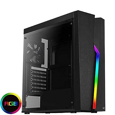 Aerocool BOLT - Caja de PC, ATX, panel acrílico, RGB 13 modos, ventilador 12cm, color Negro, Única 12