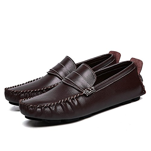 Minitoo Boys Mens Classic Stripe Daily Wear Casual Loafers Coffee