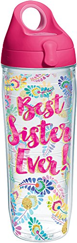 Tervis 1244733 Best Sister Ever Tumbler with Wrap and Passion Pink Lid 24oz Water Bottle, Clear (Best Water Bottle Ever)