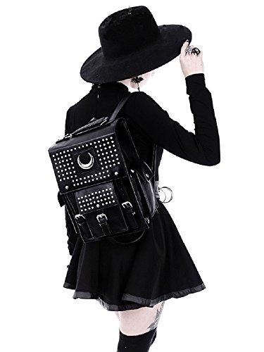 Restyle Gothic Kunstleder Eisen Mond Rucksack Nieten Halbmond Wicca Punk Tasche