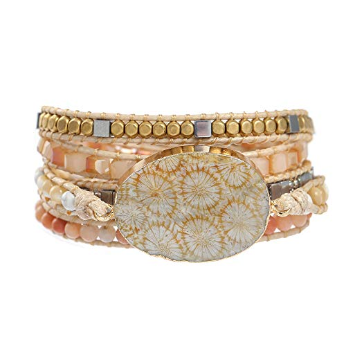 IUNIQUEEN Boho Handmade Unique 5 Wrap Coral Jade Statement Women Girl Bracelet Jewelry
