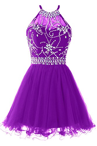 (Musever Women's Halter Short Homecoming Dress Beading Tulle Prom Dress Purple US 10)
