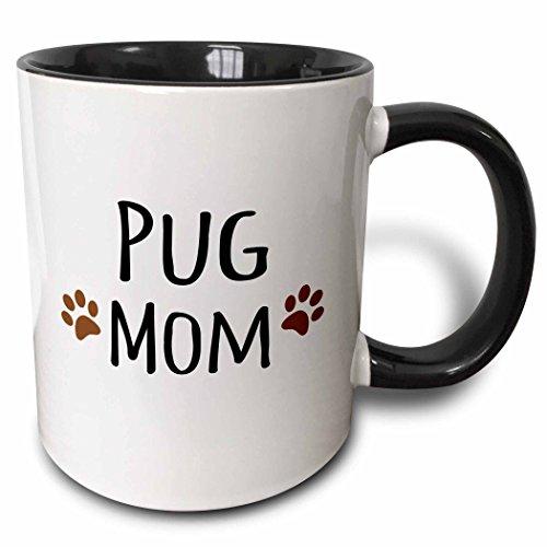 (3dRose Pug Dog Mom Doggie By Breed Muddy Brown Paw Prints Doggy Lover Proud Pet Owner Mama Love Two Tone Black Mug, 11 oz, Black/White)