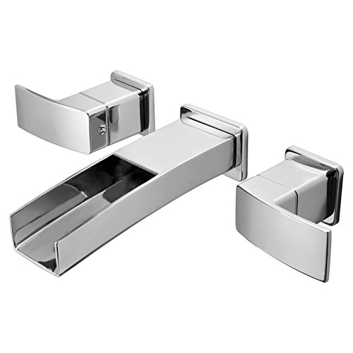 Pfister LG49DF1C Kenzo 2-Handle Waterfall Wall Mount Bathroom Faucet in Polished Chrome, Water-Efficient Model (Brantford Robe Hook)