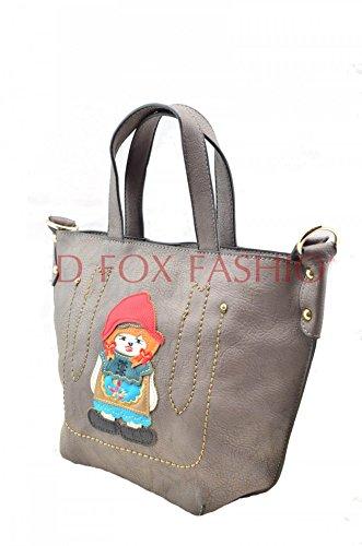 LeahWard® Damen Mode Essener Berühmtheit Modisch Qualität Kunstleder Tote Umhängetasche Handtasche CWRB14002 CWLM66164 Doll Menschen Taschen-Grau (22x10x23cm)