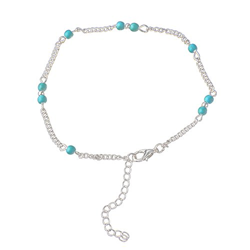 Women European Style Fashion Hot Handmade Imitation Turquoise Beads Anklet Jewelry
