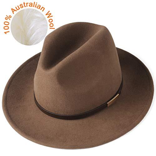 FURTALK Fedora Hats for Men Women 100% Australian Wool Felt Wide Brim Hat Crushable Packable (Leather Belt,Light Coffee, Large 22.8-23.4