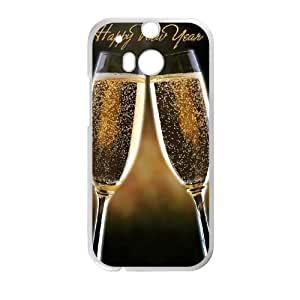 Happy New Year Champagne HTC One M8 Cell Phone Case White Protect your phone BVS_606558